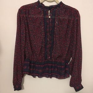 Free people navy and red floral blouse